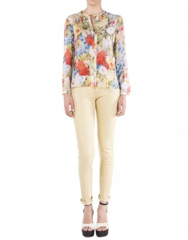 Chemise motif floral à manches longues