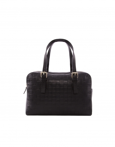 Elvira black leather bag with RV logo