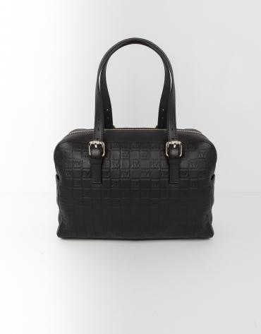 Black leather bowling bag