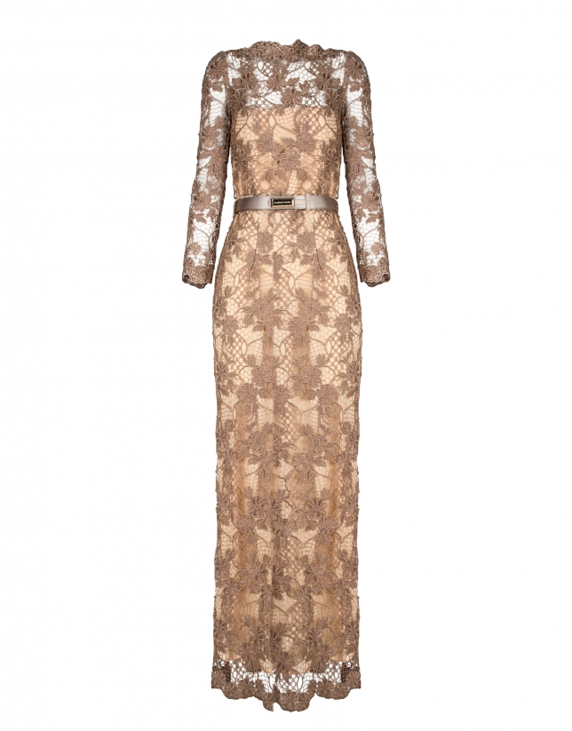 Long beige straight lace dress with transparencies and long sleeves.