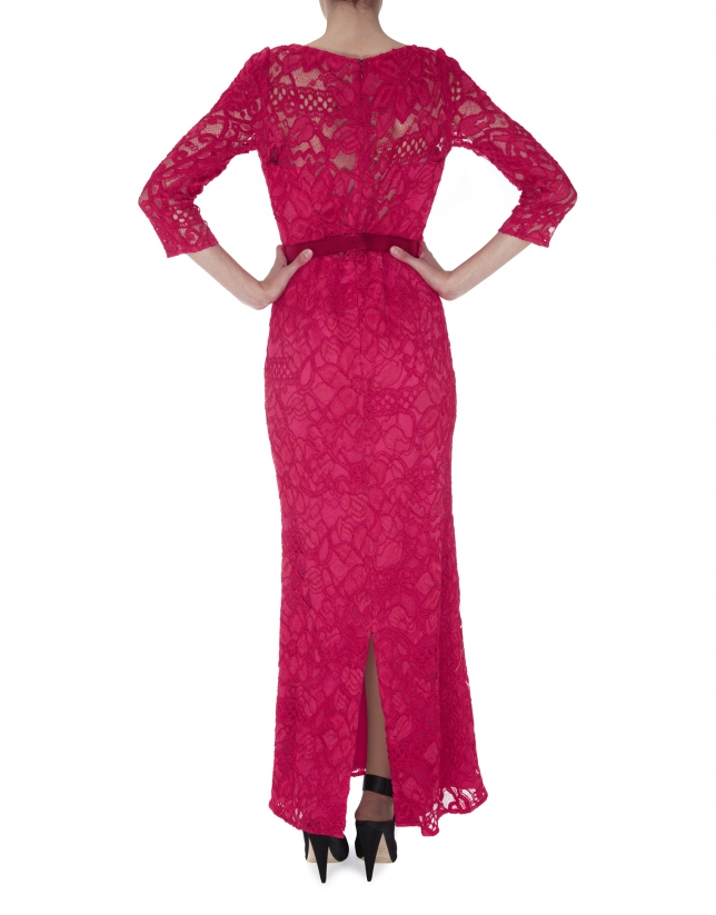 Long pink straight dress with lace
