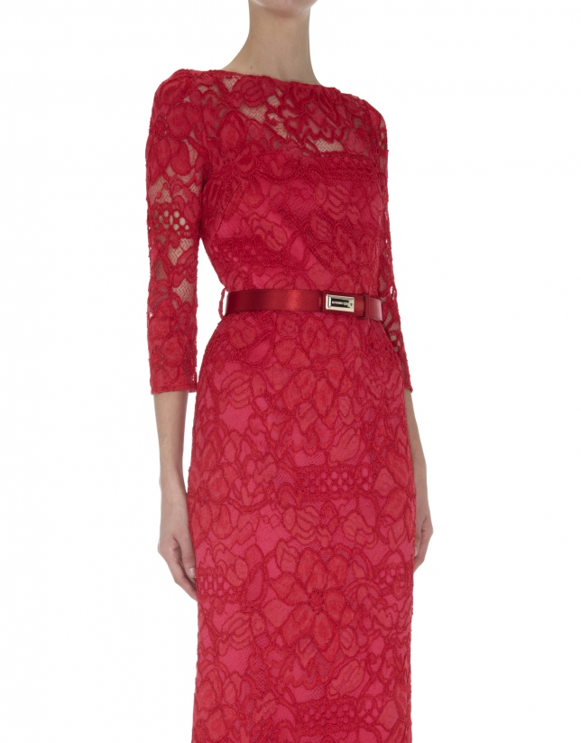 Long red straight dress with lace