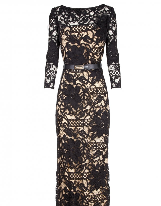 Long black straight lace dress with transparencies and long sleeves.
