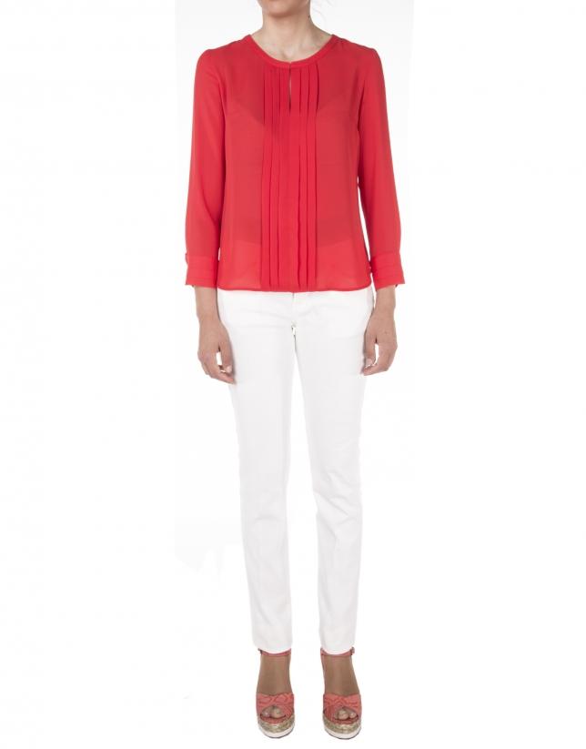 Camisa lorzas roja