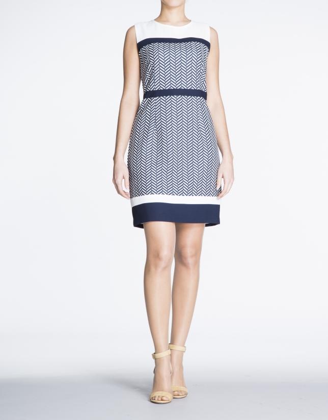 Geometric sailor print straight dress