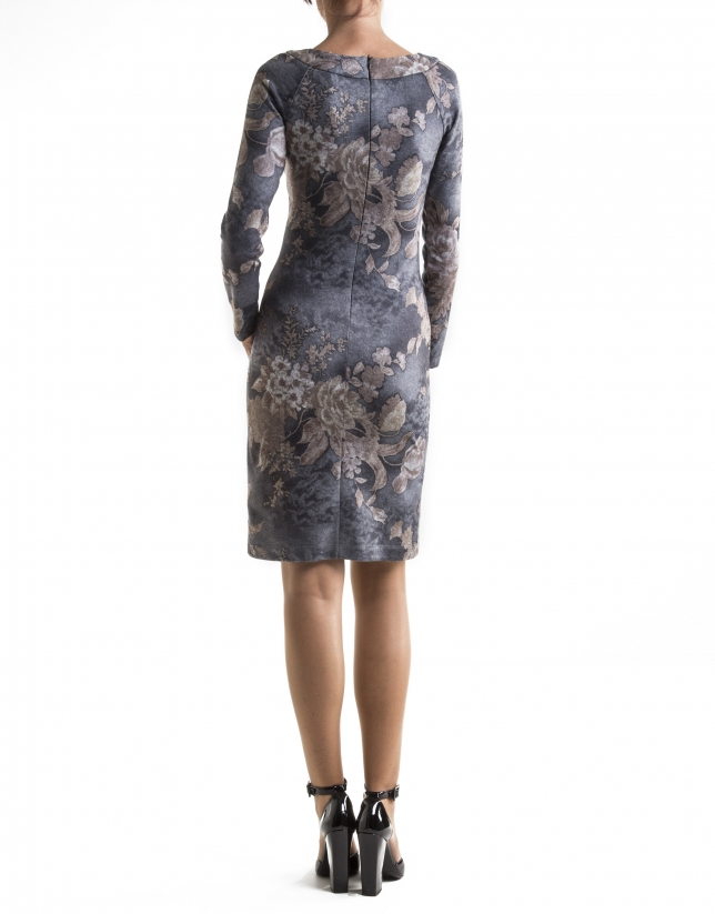 Brown and gray floral print dress with boat neck