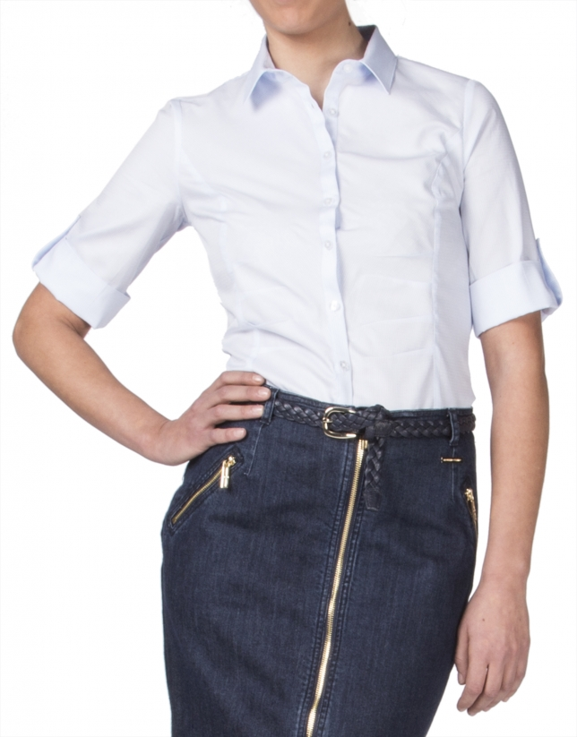 Chemise bleue à microdessin