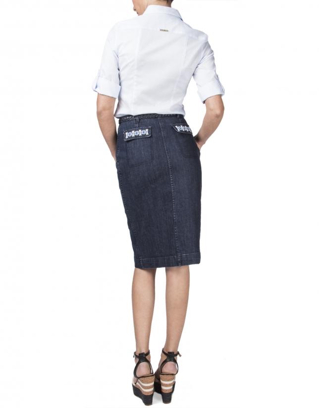 Camisa microdibujo azul