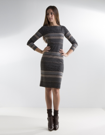 Vestido punto de rayas gris