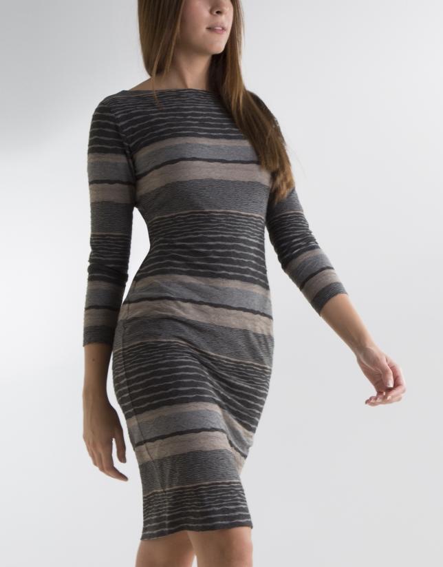 Grey striped knit dress