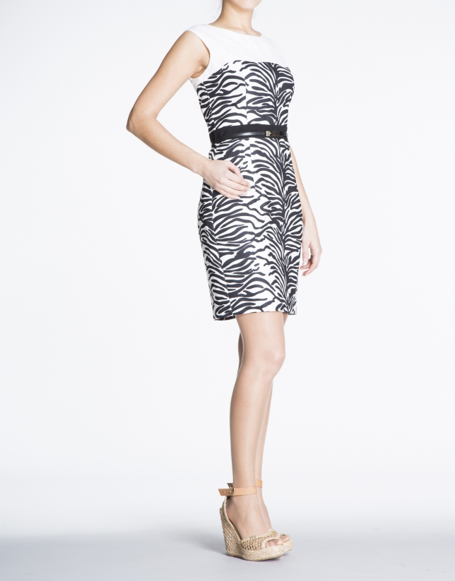 Animal print straight dress with lace