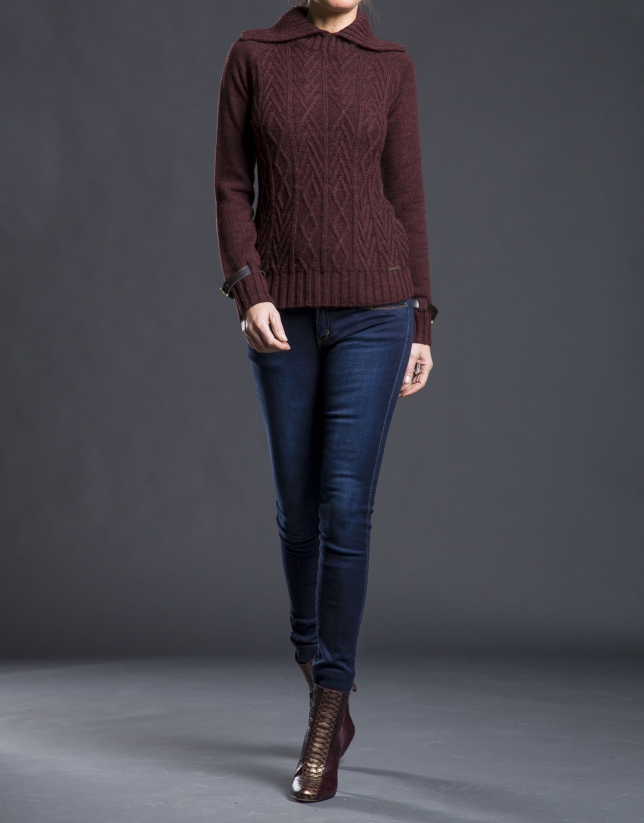 Aubergine rhombi knit sweater