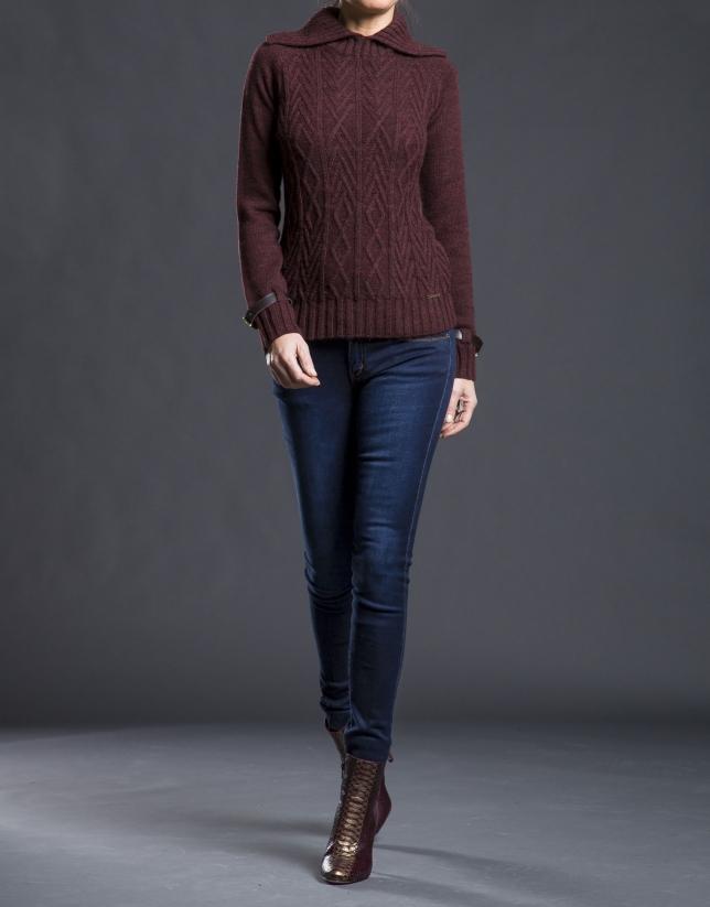 Jersey berenjena knit rombos