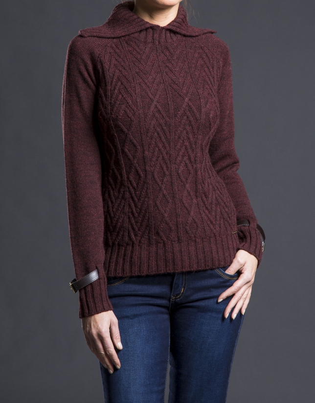 Aubergine rhombi knit sweater