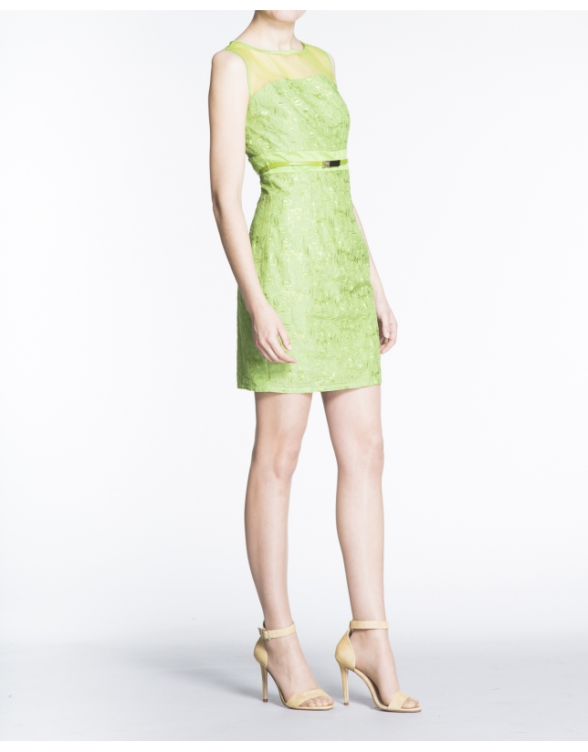 Green brocade straight dress