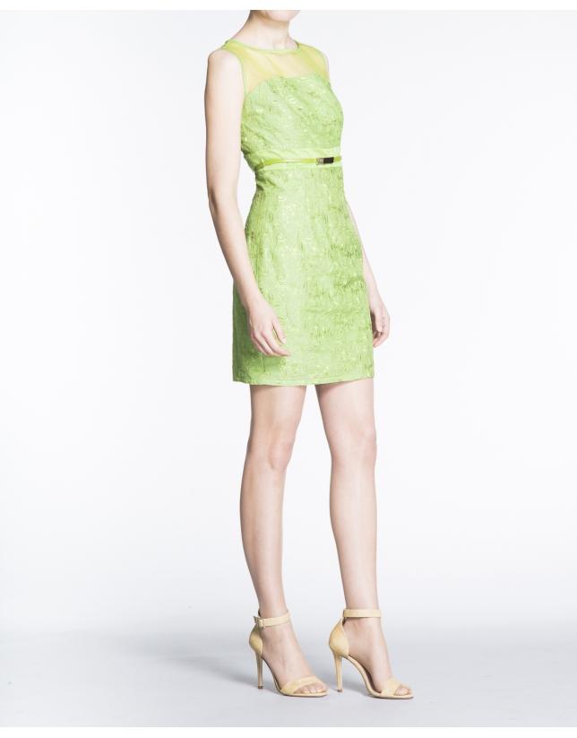 Green brocade straight dress