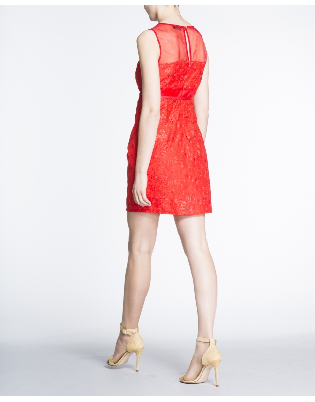 Geranium red brocade straight dress