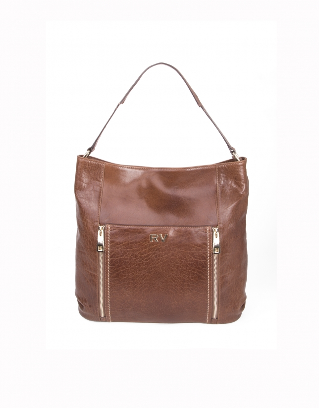 Brown buffalo leather shopping bag