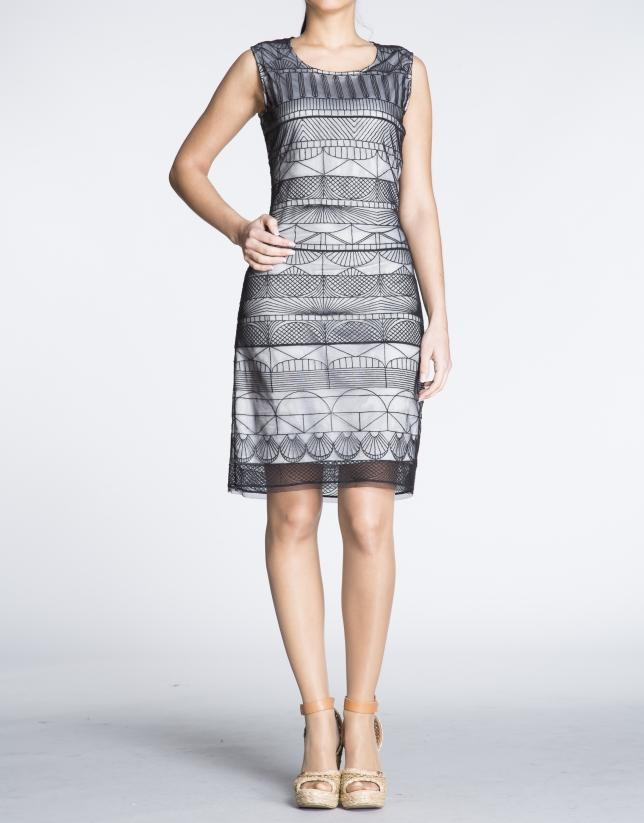 Transparent geometric fabric straight dress