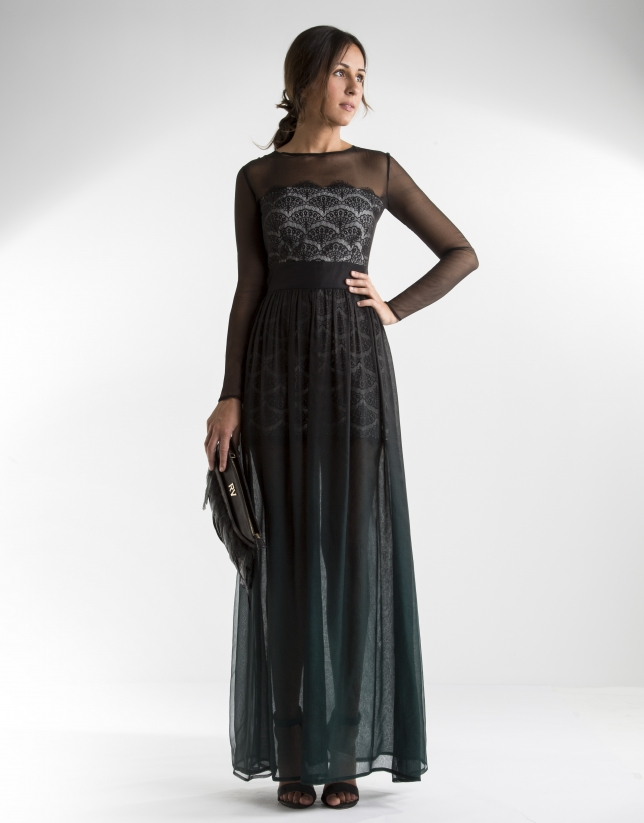 Long green chiffon dress