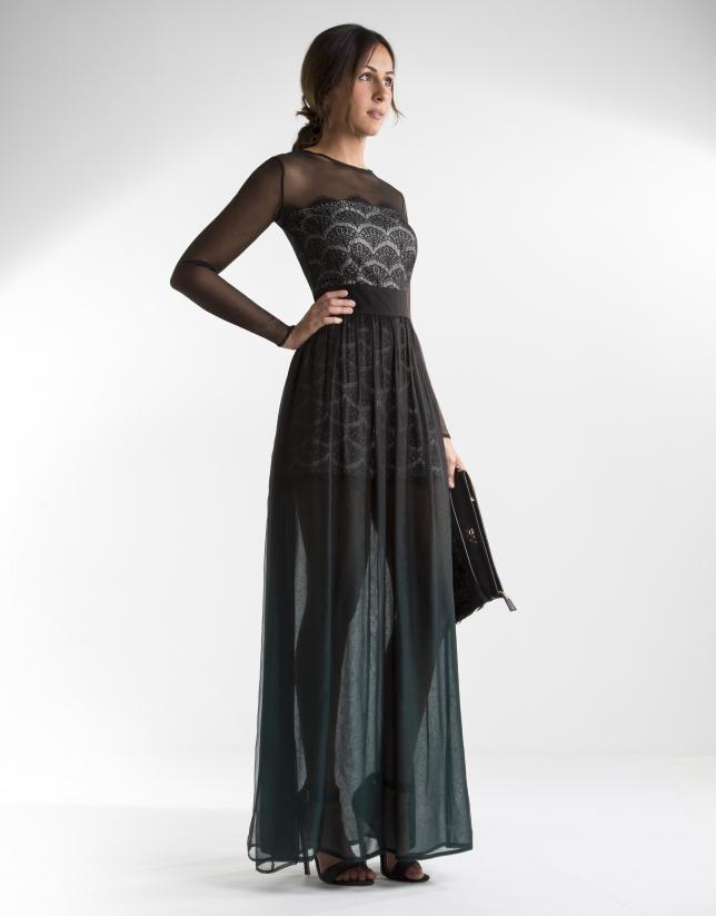 Long green chiffon dress