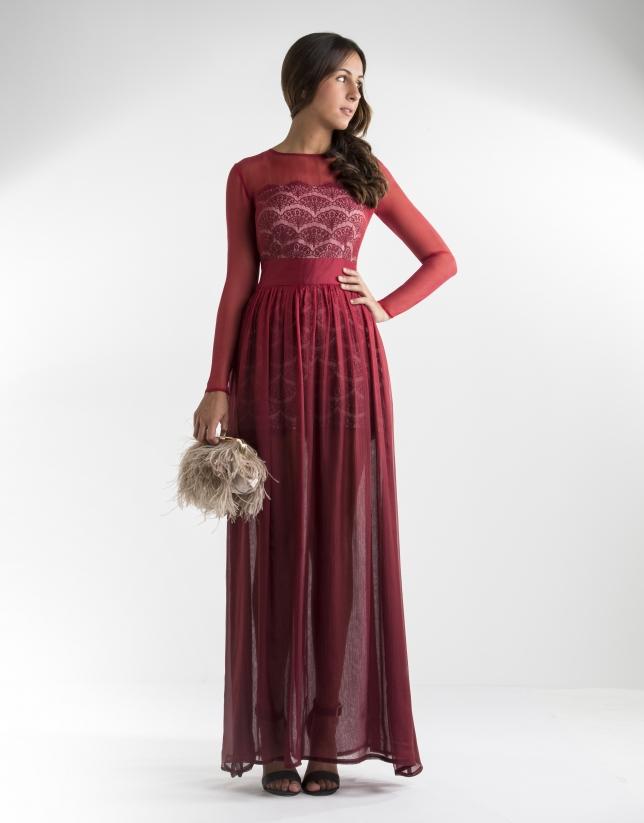 Robe longue en gaze rouge