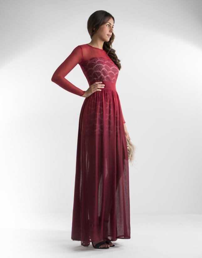 Vestido largo gasa rojo