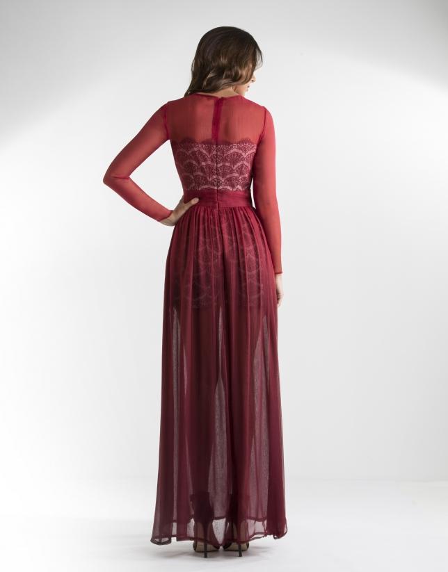 Long red chiffon dress