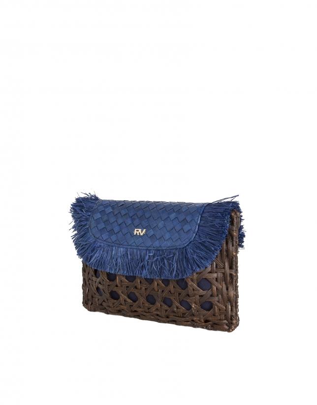 Blue raffia clutch bag