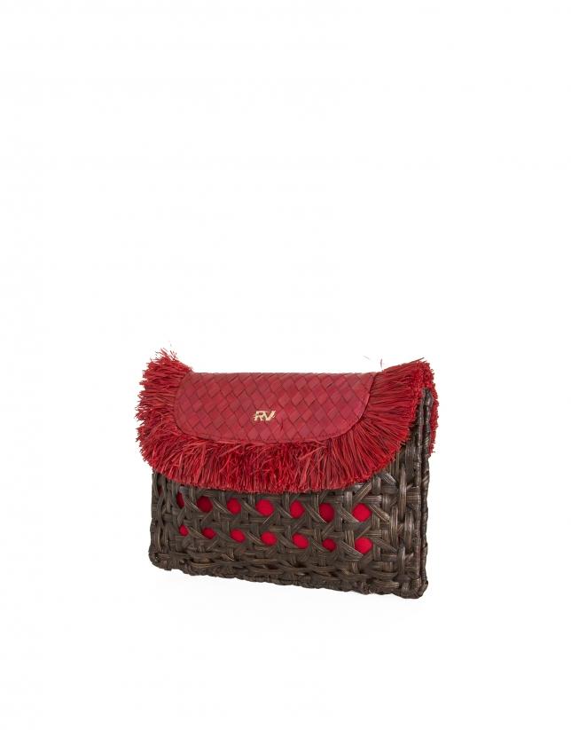 Red raffia clutch bag