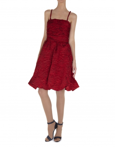Red cloqué sleeveless dress