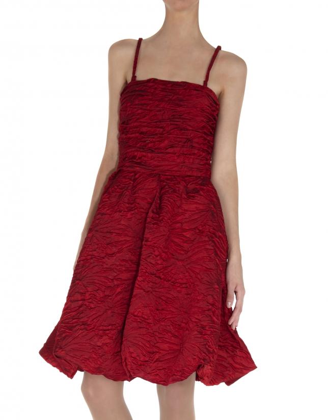Vestidos sisas cloqué rojo cuerpo drapeado falda abullonada