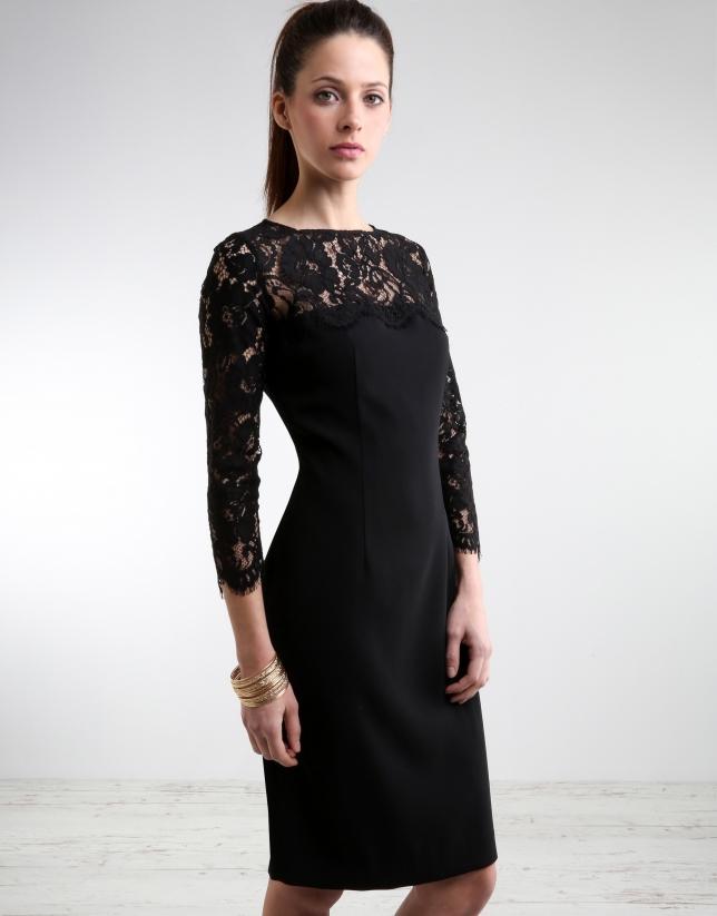 Vestido Negro Con Encaje - Vestidos - Mujer | Roberto Verino