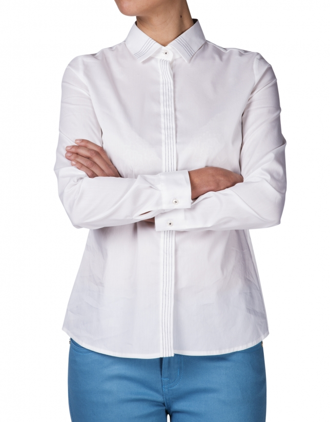 White backstitched shirt