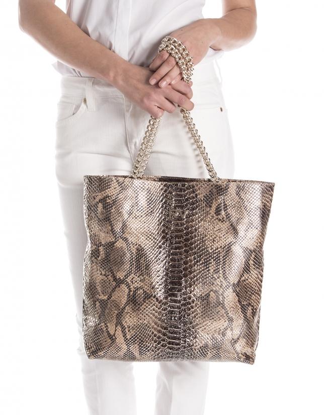 Cabas en cuir motif python