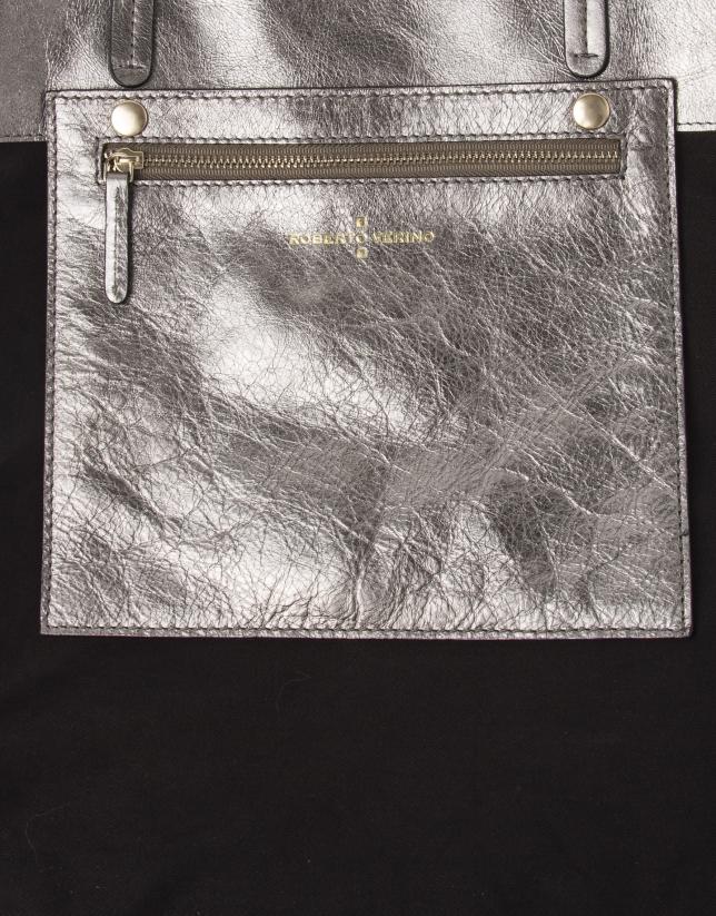 Cabas en cuir métallisé