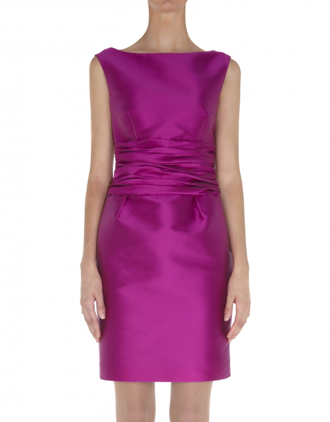 Pink dress with draped cummerbund.
