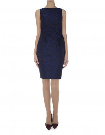 Blue embossing over black dress with draped cummerbund