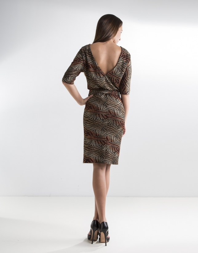 Print dress with Japanese sleeves