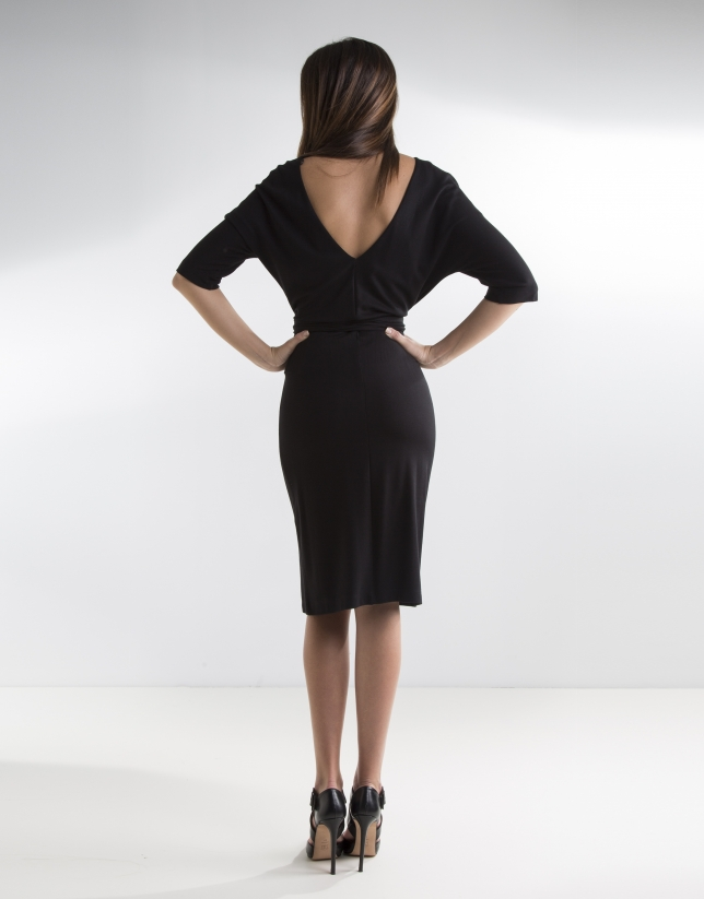 Black dress with Japanese sleeves