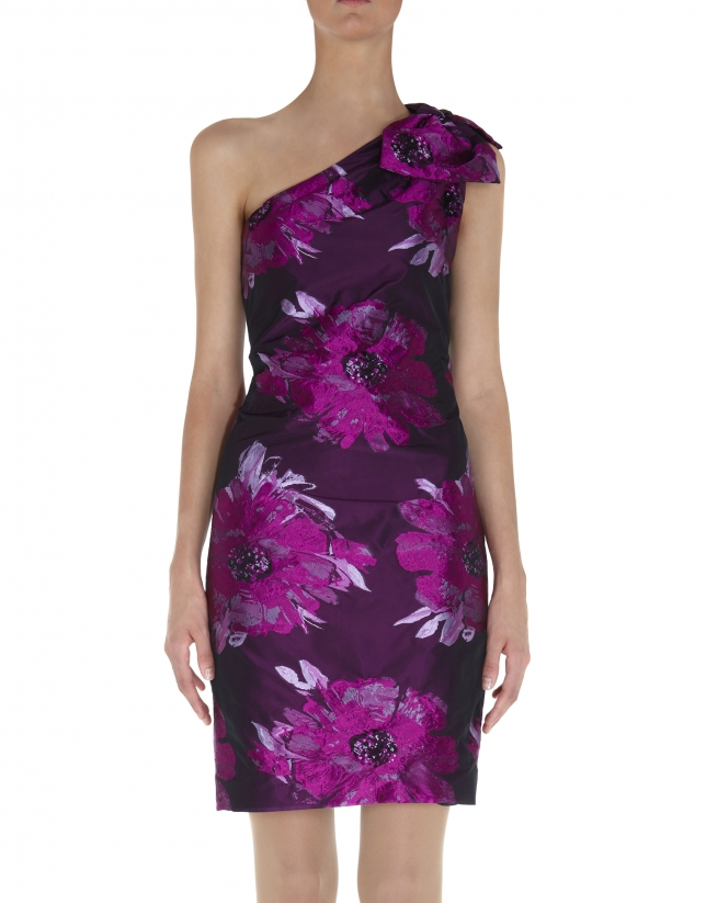 Floral asymmetric dress with bow over one shoulder