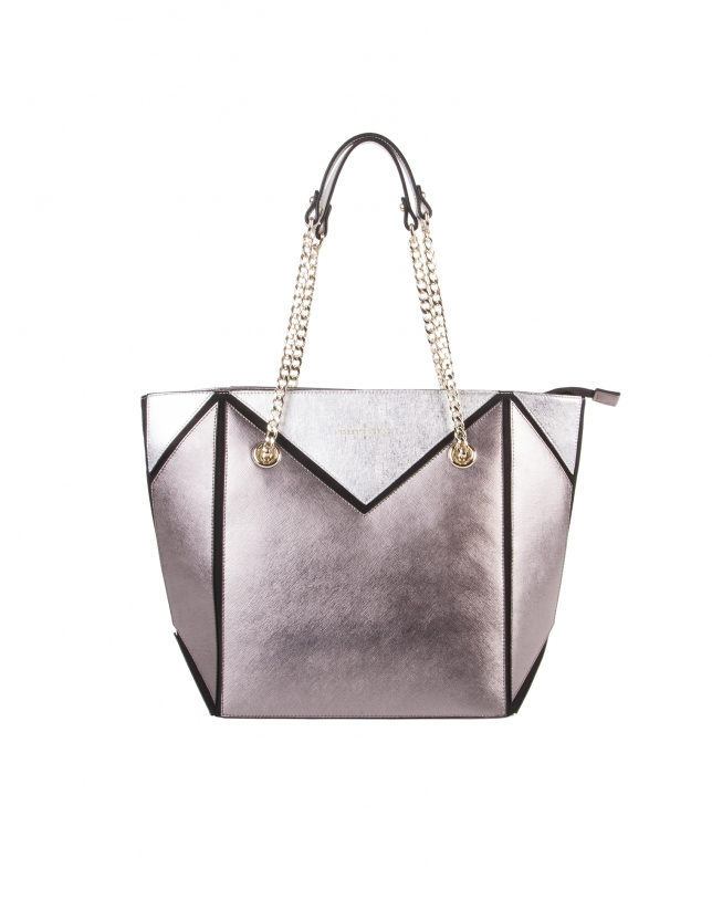 Metalized tricolor Saffiano leather shopping bag
