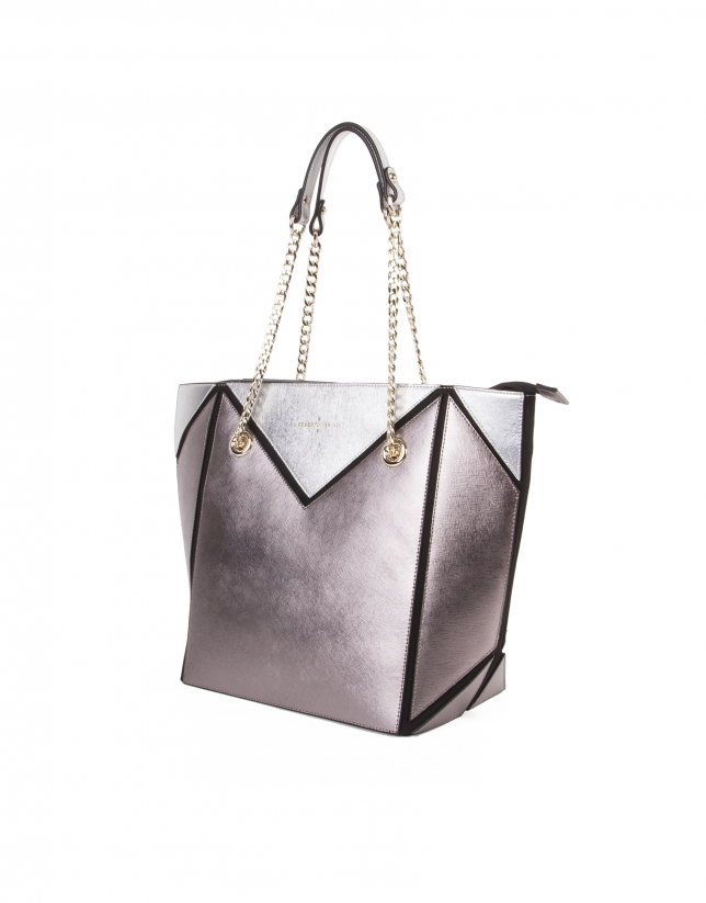 Shopping piel saffiano tricolor metalizado