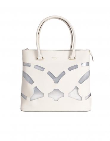 Shopping piel saffiano blanco