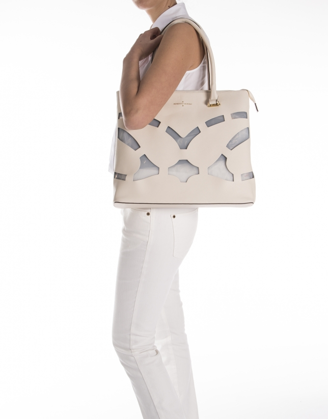 White Saffiano leather shopping bag