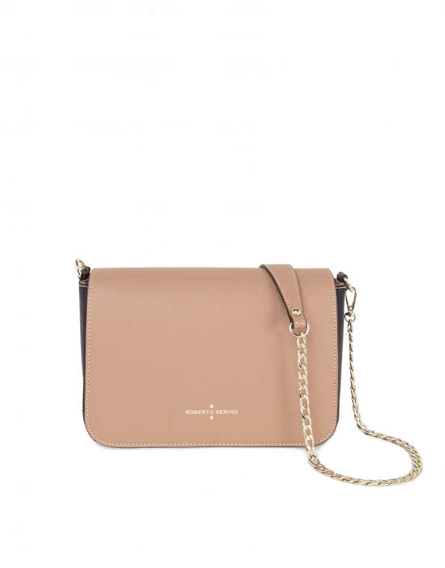 Natural color block Saffiano leather shoulder bag