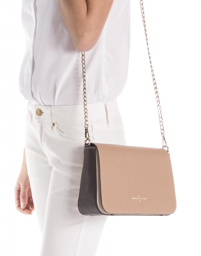 Natural color block Saffiano leather shoulder bag