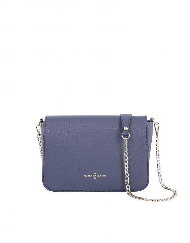 Blue color block Saffiano leather shoulder bag