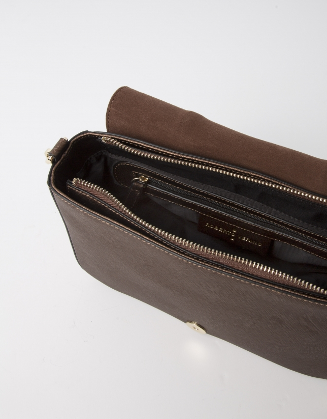 Brown Saffiano leather shoulder bag