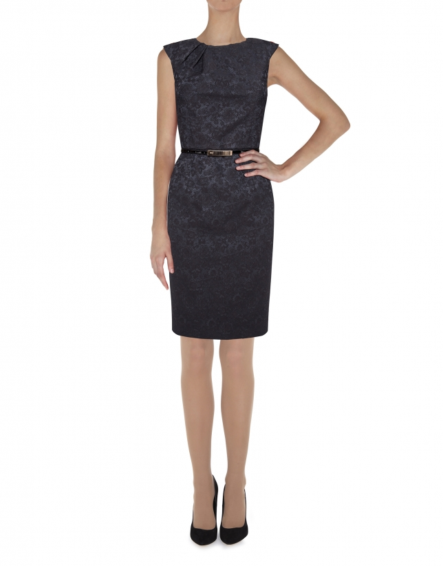 Black dress with raised fabric flowers and pleated collar
